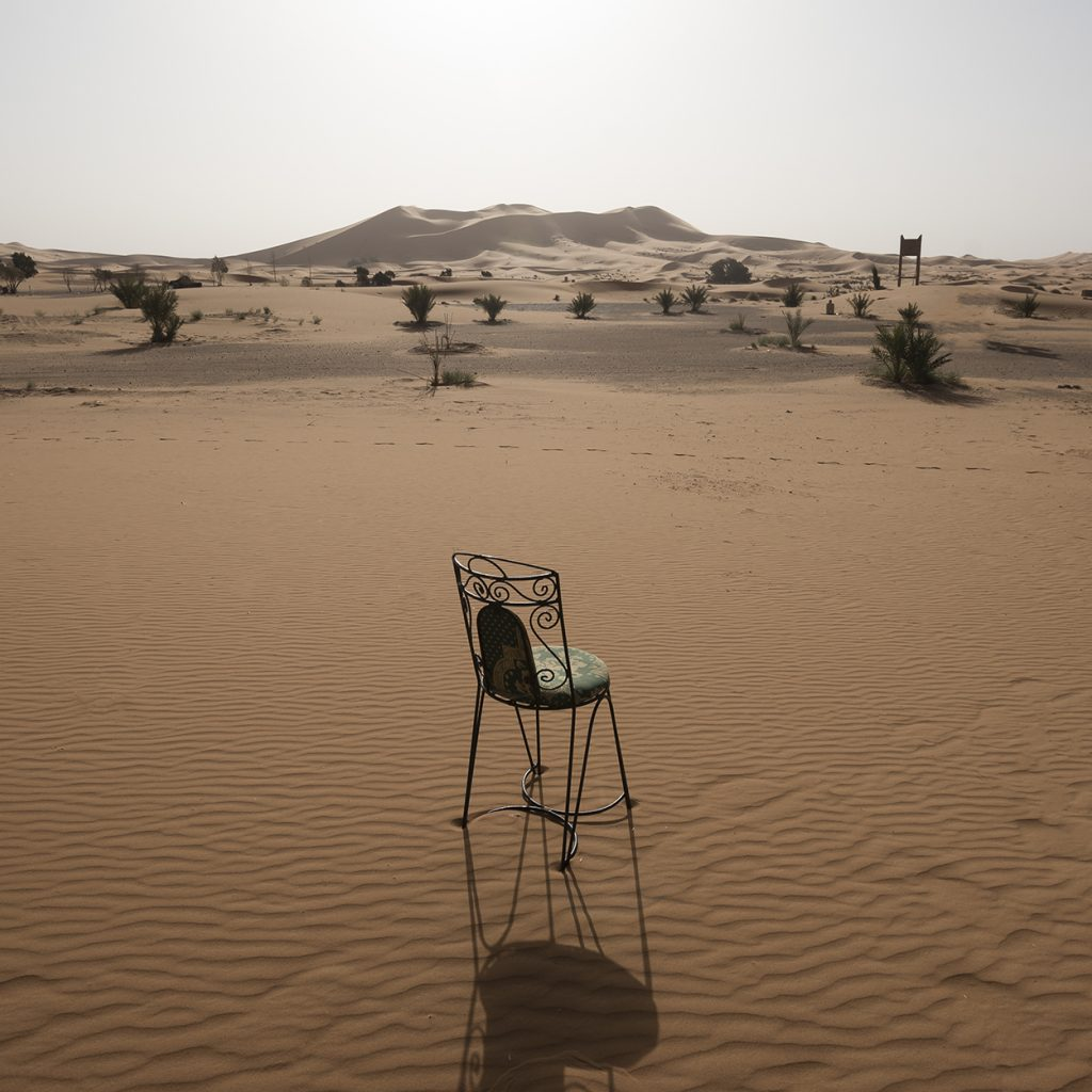 Lonely chair in Merzouga desert