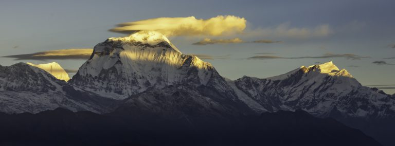 Beautiful Panorama of Dhaulagiri  summit and  clouds during sunrise from Poonhill, Himalayas